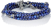 M. Cohen Men's Bead & Skull Charm Wrap Bracelet-BLUE