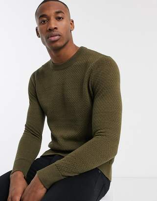 Selected textured lightweight knitted jumper in brown