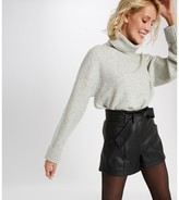 Morgan Faux Leather Belted Shorts with High Waist