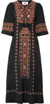 Figue Louise Embellished Silk Crepe De Chine Midi Dress - Black