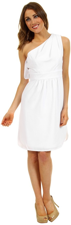 Vince Camuto Pleated One-Shoulder Dress (White) - Apparel