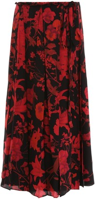 Valentino Floral Pleated Skirt
