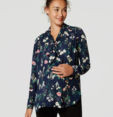 LOFT Maternity Valley Floral Bow Blouse