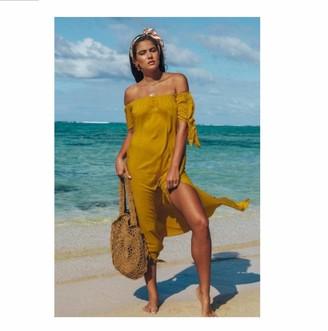 dingsheng Beach Dresses for Women UK Sexy Women Beach Shoulder Bathing Suit Cover Ups Beach Coverups Swim Dress -Yellow_L