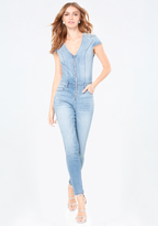 Bebe Bling Detail Denim Jumpsuit