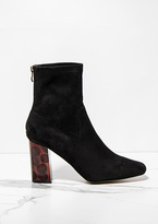 Missy Empire Arden Black Faux Suede Tortoise Shell Heeled Boots