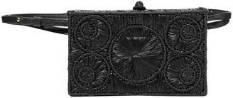 Sophie Anderson Mia Leather-trimmed Raffia Belt Bag