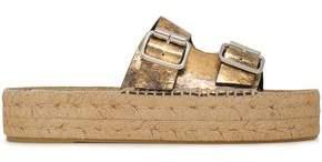 McQ Metallic Cracked-leather Platform Espadrille Slides