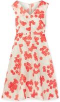 Lela Rose Flared Striped Fil Coupe Silk-blend Dress