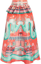Temperley London Nymph Printed Silk Peplum Midi Skirt - Red