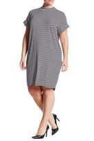Bobeau Ribbed Striped Short Dolman Sleeve Dress (Plus)