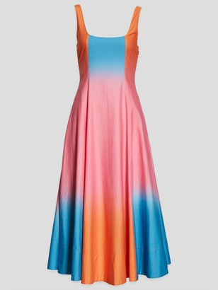 STAUD Wells Dip-Dye Poplin Midi Dress