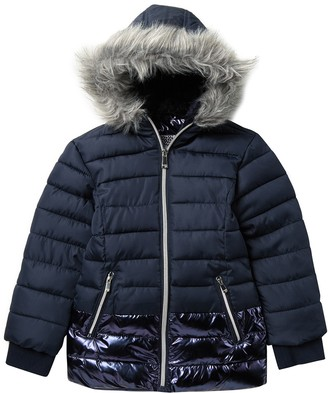 KensieGirl Faux Fur Trimmed & Lined Quilted Puffer Jacket (Little Kid)