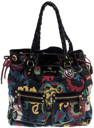 Etro Multicolor Floral Print Canvas and Patent Leather Tote