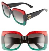 Gucci Women's 55Mm Square Sunglasses - Blue Havana/ Brown