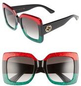 Gucci Women's 55Mm Square Sunglasses - Red Black Green/ Grey