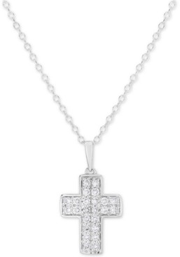 """Forever Grown Diamonds Lab-Created Diamond Cross 18"""" Pendant Necklace (1/2 ct. t.w.) in Sterling Silver"""