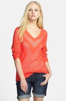 Vince Camuto Two by Placed Pointelle V-Neck Sweater