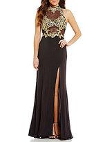 Blondie Nites Mock Neck Embroidered Bodice Long Dress