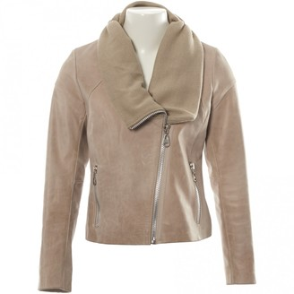 Doma Beige Leather Jacket for Women