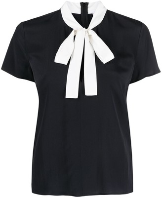 RED Valentino Pussy-Bow Short-Sleeve Blouse