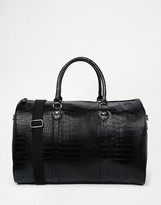 Asos Smart Holdall In Black Faux Leather With Crocodile Effect - Black