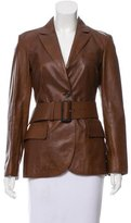 Prada Belted Leather Jacket