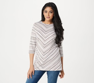 Denim & Co. Petite 3/4 Sleeve Striped Round Neck Tunic