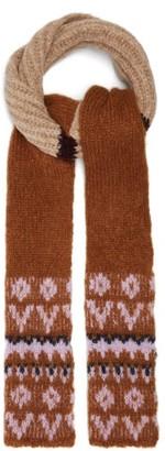 Raf Simons Fair-isle Striped Slim Alpaca-blend Scarf - Beige Multi