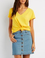 Charlotte Russe V-Neck Pocket Tee