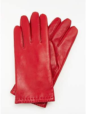 John Lewis & Partners Cashmere Lined Leather Gloves, Red