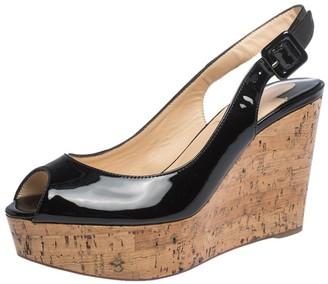 Christian Louboutin Black Patent Leather Une Plume Peep Toe Slingback Cork Wedges Size 36
