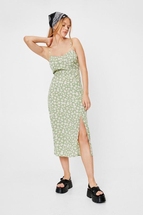 Nasty Gal Womens Casual Floral Slit Midi Dress - Green - 10