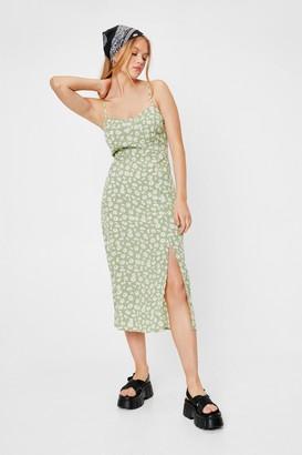 Nasty Gal Womens Flower You Doing Slit Midi Dress - Green - 6