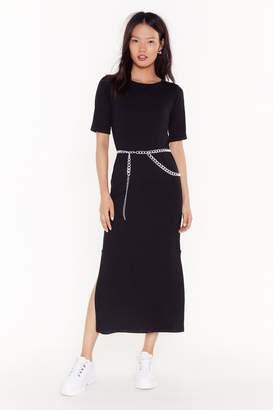 Nasty Gal Womens Slit Back and Let It Happen Midi Dress - black - 6