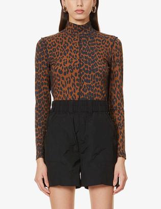 Ganni Leopard-print stretch-organic cotton top