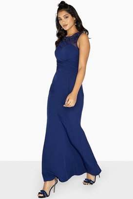 Little Mistress Joni Embellished Yoke Sheath Dress