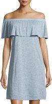 Velvet by Graham & Spencer Off-the-Shoulder Striped Dress, Larkspur