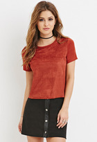 Forever 21 FOREVER 21+ Perforated Faux Suede-Front Top