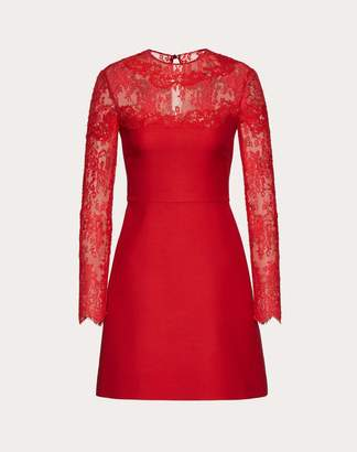 Valentino Crepe Couture And Lace Dress Women Red 40