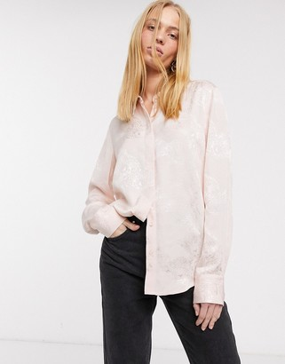 And other stories & cat face jacquard shirt in pink