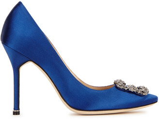 Manolo Blahnik Hangisi 105 Royal Blue Silk Satin Pumps
