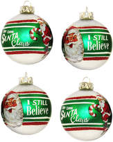 Kurt Adler 65Mm Retro Silver Balls With Santa Ornament 4Pc Set
