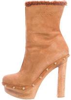 Gucci Suede Platform Ankle Boots