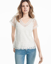 White House Black Market Embroidered Lace Top
