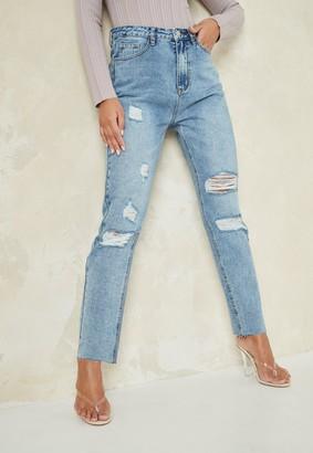 Missguided Petite Light Blue Straight Leg Distressed Jeans