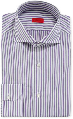 Isaia Men's Shadow-Striped Cotton Dress Shirt