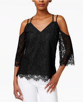 Bar III Strappy Lace Cold-Shoulder Top, Created for Macy's