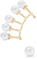Noir Nathalie gold-tone faux pearl ear cuff and stud set