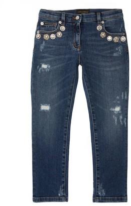 Dolce & Gabbana Kids Crystal-Embellished Distressed Skinny Jeans